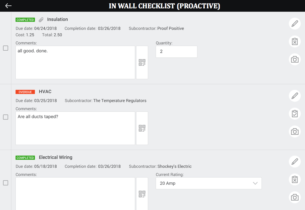 In wall checklist example