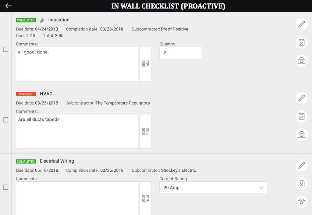 In wall checklist