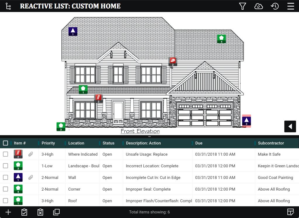 Reactive List for a Custom Home