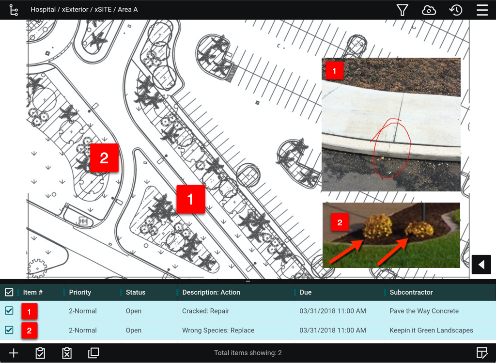 Photo of a construction inspection app