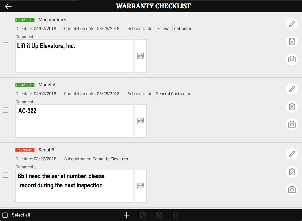 Warranty Checklist