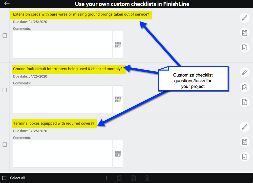 custom checklists